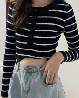 Striped Buttons Knitted Pullovers Casual Sweater