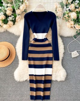 Striped V Neck Elastic Bodycon Warm Sweater Dress