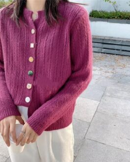 Sweaters V-Neck Buttons Fashionable Korean Knitwears