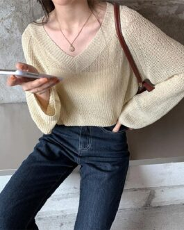 Sweaters V-Neck Sexy Minimalist Hollow Out Pullover