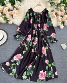 Sweet Flower Slash Neck Long Sleeve Off Shoulder A-line Dress