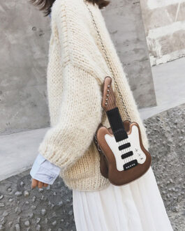 Sweet Lolita Handbag Guitar Shaped PU Leather Cross Body Bag