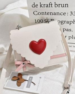 Sweet Lolita Handbag Letter Shaped PU Leather Hearts Cross Body Bag