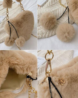 Sweet Lolita Heart Shaped Faux Fur Pom Poms Cross Body Bag