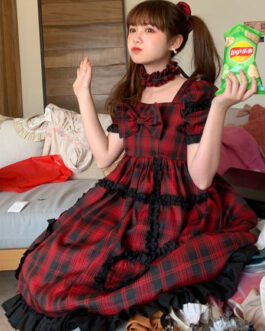 Sweet Lolita OP Idol Stage Plaid Short Sleeves One Piece Dresses