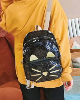 Sweet Lolita Sequin Panda Animal PU Leather Backpack Bag