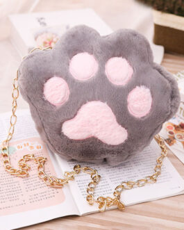 Sweet Lolita Short Plush Cat Paw Cross Body Bag