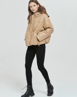 Thick Warm PU Faux Leather Padded Coat