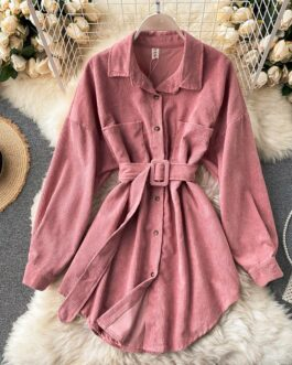 Turn-Down Collar Long Sleeve Button Solid Office Dress Outwear
