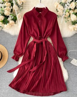 Turn-down Collar Long Sleeve Elegant A-line Office Dresses