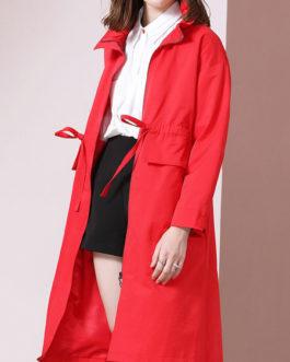 Turndown Collar Pockets Casual Woolen Trench Coat