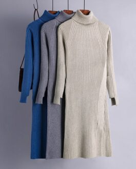Turtle Neck Knitted Slim Long Sleeve Split Sweater Dresses