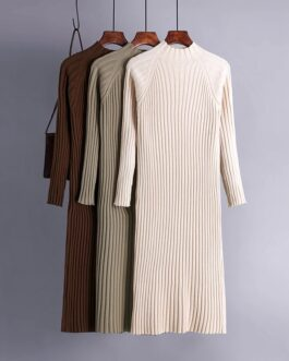Turtleneck Knitted Long Sleeve Street Wear Sweater Dress