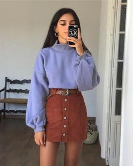 Turtleneck Long Sleeve Sweatshirt
