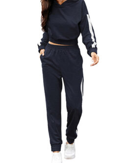 Two Piece Sets Hooded Sweatshirt Color Block Pockets With Pants