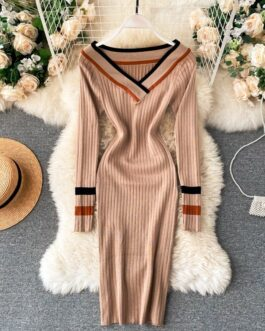 V Neck Long Sleeve Elastic Vintage Bodycon Sweater Dresses