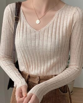 V-Neck Solid Tops Minimalist Slim Bottoming Sweaters