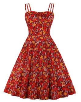 Vintage Sleeveless Straps Neck Floral Print Bows Rockabilly Swing Dress
