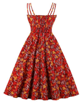Vintage Sleeveless Straps Neck Floral Print Bows Rockabilly Swing Dress
