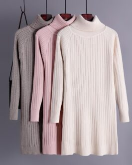 Vintage Slim Long Sleeve Jumper Thicken Solid Sweater Dresses