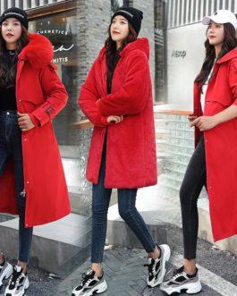 Warm Fleece Hooded Coats Long Large Fur Collar Jackets