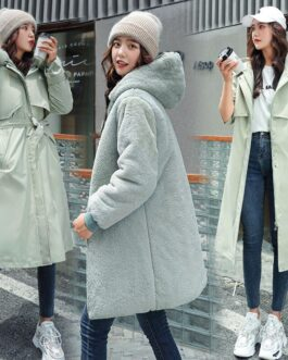Warm Fleece Hooded Coats Long Large Fur Collar Jackets