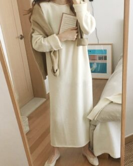 Batwing Long Sleeve Basic Casual Straight Dress