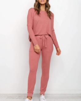 Batwing Long Sleeve Pullover Sweater With Long Pencli Pants Outfits