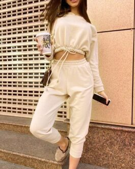 Batwing Sleeve Hooded Cropped Tops Calf Length Sport Casual Pants