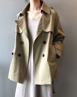 Breasted Trench Long Sleeve Casual Pockets Outwear Sashes Coat
