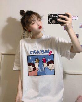 Cartoon print short sleeve loose T-shirt