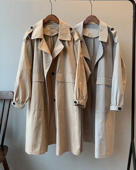 Casual Loose Windbreaker Single Breasted Pockets Outwear Coat