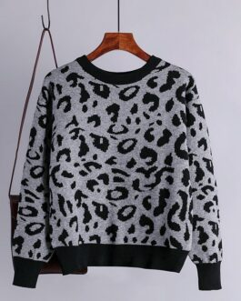 Casual O Neck Long Sleeve Leopard Knitted Pullovers Sweater