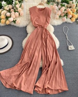 Casual O Neck Sleeve Less Office Rompers Long Jumpsuits