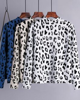Casual Turtleneck Leopard Long Sleeve Jumper Pullovers Sweater
