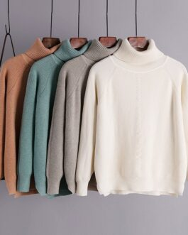 Casual Turtleneck Long Sleeve Solid Jumper Pullovers Sweater