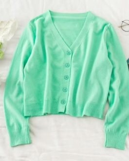 Casual V Neck Buttons Loose Elastic Cardigans Sweater