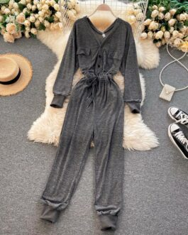 Casual V Neck Long Sleeve Rompers Street Wear Harem Jumpsuits