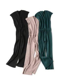 Casual V Neck Sleeveless Drawstring Waist Wide Leg Long Jumpsuits