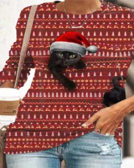Cat Print Long Sleeve Plus Size Christmas T-shirt