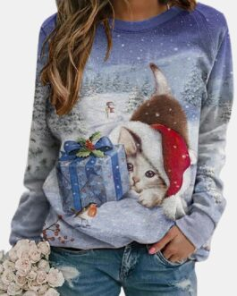 Christmas Cat Printed Long Sleeve O-neck Sweatshirt