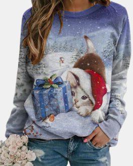 Christmas Cat Printed Long Sleeve O-neck Sweatshirt