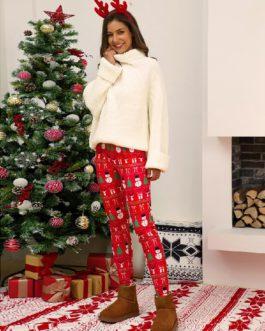 Christmas Pattern Print Elastic Waist Bodycon Pajamas Pants