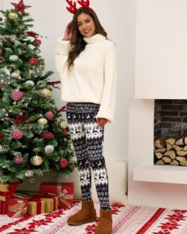 Christmas Pattern Print Elastic Waist Bodycon Pajamas Pants