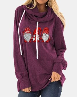 Christmas Print Drawstring Long Sleeve Casual Hoodie