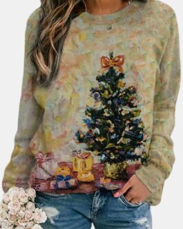 Christmas Print Long Sleeves O-neck Casual Sweatshirt