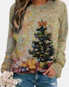 Christmas Print Long Sleeves O-neck Casual Sweatshirt