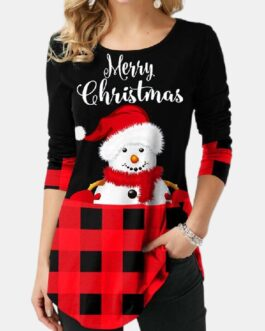Christmas Print Plaid Patchwork Long Sleeve Blouse