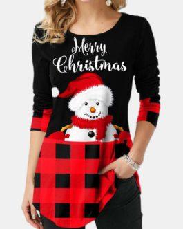 Christmas Print Plaid Patchwork Long Sleeve Blouse