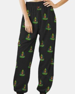 Christmas Tree Prints Elastic Wasit Pants